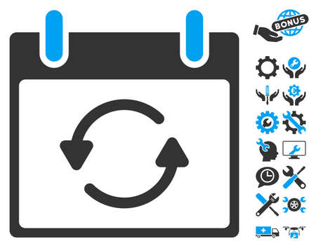 configure: Refresh Calendar Day pictograph with bonus setup tools images. Vector illustration style is flat iconic symbols, blue and gray, white background.