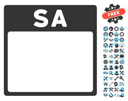 Sábado pictograma página de calendario con las herramientas de configuración bono iconos gráficos. estilo de ilustración vectorial símbolos icónicos es plana, azul y gris, fondo blanco.