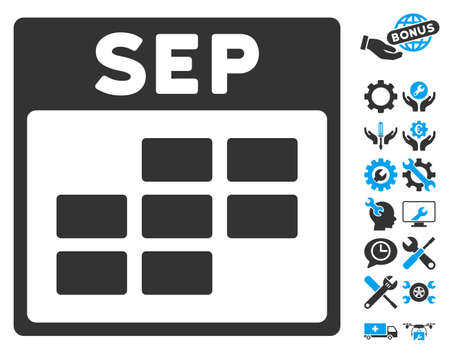 configure: September Calendar Grid pictograph with bonus setup tools design elements. Vector illustration style is flat iconic symbols, blue and gray, white background.