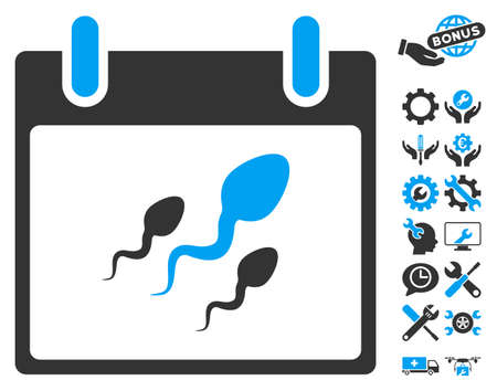 ovule: Sperm Calendar Day icon with bonus service pictures. Vector illustration style is flat iconic symbols, blue and gray, white background.