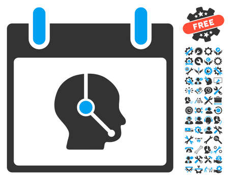 talker: Telemarketing Operator Calendar Day pictograph with bonus setup tools clip art. Vector illustration style is flat iconic symbols, blue and gray, white background. Illustration