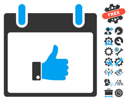 Thumb Up Hand Calendar Day pictograph with bonus tools icon set. Vector illustration style is flat iconic symbols, blue and gray, white background.