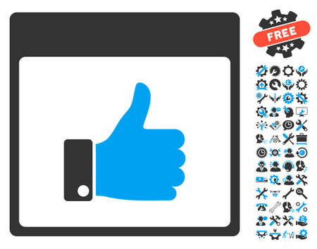 configure: Thumb Up Hand Calendar Page icon with bonus tools pictures. Vector illustration style is flat iconic symbols, blue and gray, white background.