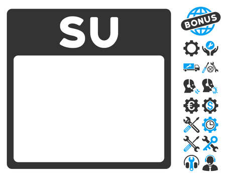 configure: Sunday Calendar Page pictograph with bonus service symbols. Vector illustration style is flat iconic symbols, blue and gray, white background.