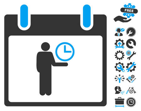 temporary workers: Time Manager Calendar Day icon with bonus service design elements. Vector illustration style is flat iconic symbols, blue and gray, white background.