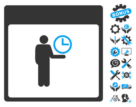 setup man: Time Manager Calendar Page pictograph with bonus tools images. Vector illustration style is flat iconic symbols, blue and gray, white background.