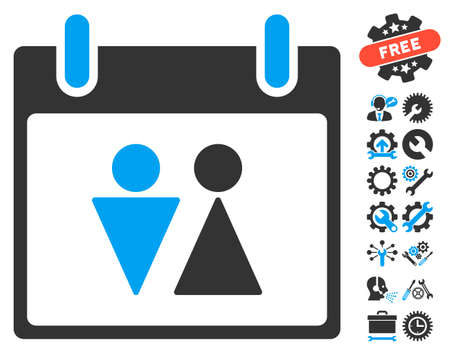configure: Toilet Calendar Day pictograph with bonus settings graphic icons. Vector illustration style is flat iconic symbols, blue and gray, white background. Illustration