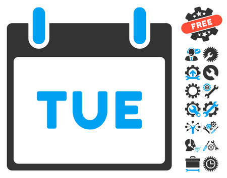 configure: Tuesday Calendar Page pictograph with bonus tools pictures. Vector illustration style is flat iconic symbols, blue and gray, white background.