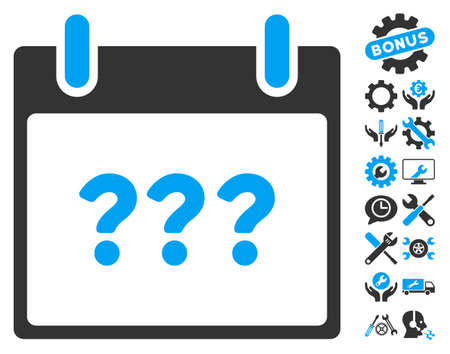 configure: Unknown Day Calendar Page icon with bonus tools graphic icons. Vector illustration style is flat iconic symbols, blue and gray, white background.