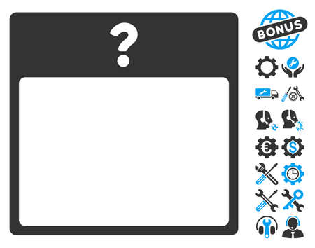 configure: Unknown Day Calendar Page pictograph with bonus setup tools pictograms. Vector illustration style is flat iconic symbols, blue and gray, white background.