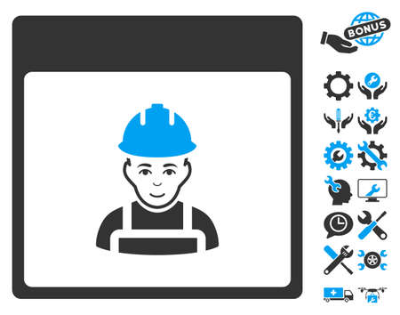 configuration: Worker Calendar Page pictograph with bonus configuration pictograms. Vector illustration style is flat iconic symbols, blue and gray, white background.