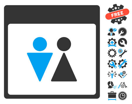 configure: WC Persons Calendar Page pictograph with bonus options pictograph collection. Vector illustration style is flat iconic symbols, blue and gray, white background. Illustration
