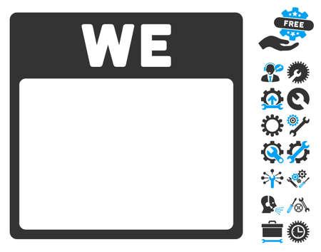wednesday: Wednesday Calendar Page icon with bonus configuration icon set. Vector illustration style is flat iconic symbols, blue and gray, white background.