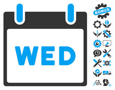 wednesday: Wednesday Calendar Page icon with bonus options images. Vector illustration style is flat iconic symbols, blue and gray, white background.