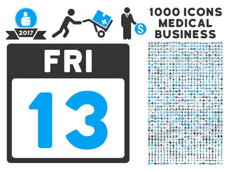 friday 13th: Blue And Gray 13 Friday Calendar Page vector icon with 1000 medical business pictograms. Set style is flat bicolor symbols, blue and gray colors, white background.