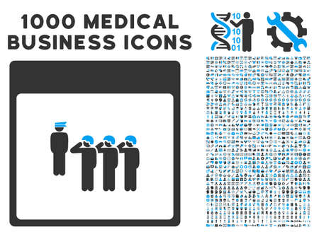 squad: Blue And Gray Army Squad Calendar Page vector icon with 1000 medical business pictograms. Set style is flat bicolor symbols, blue and gray colors, white background.