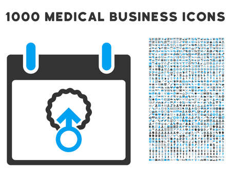 penetracion: Blue And Gray Cell Penetration Calendar Day vector icon with 1000 medical business pictograms. Set style is flat bicolor symbols, blue and gray colors, white background. Vectores