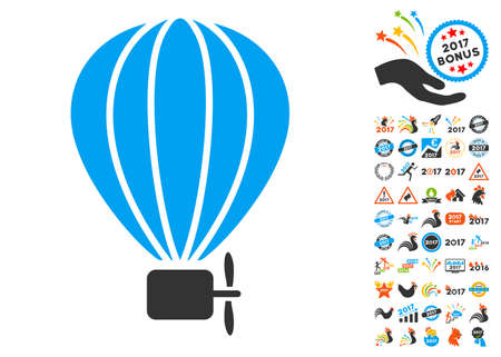 air baloon: Aerostat Balloon icon with bonus 2017 new year clip art. Vector illustration style is flat iconic symbols, blue and gray colors, white background. Illustration