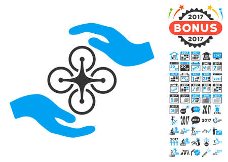 goodness: Air Copter Care Hands icon with bonus 2017 new year symbols. Vector illustration style is flat iconic symbols, blue and gray colors, white background.
