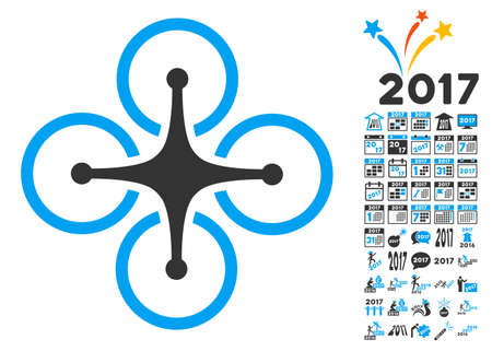 airflight: Airdrone pictograph with bonus 2017 new year pictograms. Vector illustration style is flat iconic symbols, blue and gray colors, white background. Illustration