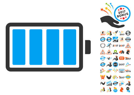 lithium: Battery pictograph with bonus 2017 new year images. Vector illustration style is flat iconic symbols, blue and gray colors, white background.