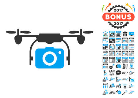 airflight: Camera Drone pictograph with bonus 2017 new year design elements. Vector illustration style is flat iconic symbols, blue and gray colors, white background. Illustration