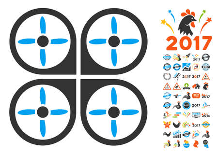 aero: Copter pictograph with bonus 2017 new year clip art. Vector illustration style is flat iconic symbols, blue and gray colors, white background. Illustration