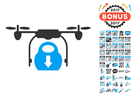 airflight: Drone Drop Cargo pictograph with bonus 2017 new year icon set. Vector illustration style is flat iconic symbols, blue and gray colors, white background.