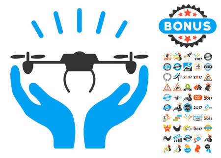 Drone Launch Hands pictograph with bonus 2017 new year icon set. Vector illustration style is flat iconic symbols, blue and gray colors, white background. Illustration
