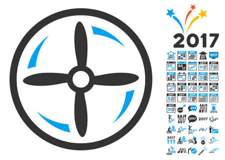 Drone Screw Rotation icon with bonus 2017 new year design elements. Vector illustration style is flat iconic symbols, blue and gray colors, white background. Illustration