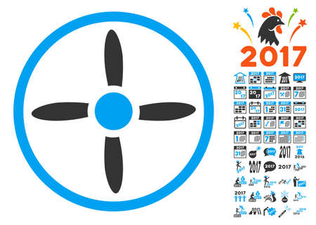Drone Screw pictograph with bonus 2017 new year images. Vector illustration style is flat iconic symbols, blue and gray colors, white background.