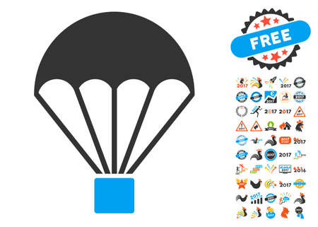 skydiving: Parachute pictograph with bonus 2017 new year icon set. Vector illustration style is flat iconic symbols, blue and gray colors, white background. Illustration
