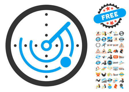 localization: Radar pictograph with bonus 2017 new year graphic icons. Vector illustration style is flat iconic symbols, blue and gray colors, white background.