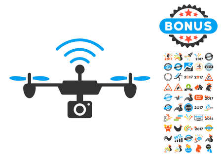 Radio Camera Airdrone pictograph with bonus 2017 new year clip art. Vector illustration style is flat iconic symbols, blue and gray colors, white background.