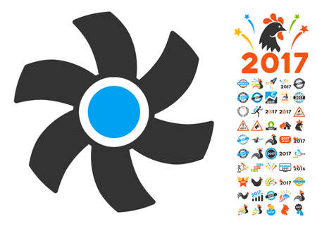Rotor pictograph with bonus 2017 new year clip art. Vector illustration style is flat iconic symbols, blue and gray colors, white background. Illustration