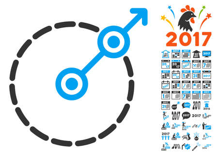 perimeter: Round Area Exit icon with bonus 2017 new year graphic icons. Vector illustration style is flat iconic symbols, blue and gray colors, white background.