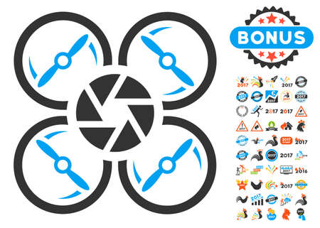 Shutter Drone icon with bonus 2017 new year pictures. Vector illustration style is flat iconic symbols, blue and gray colors, white background.