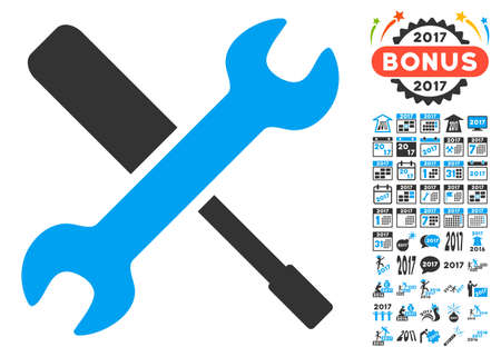Tools icon with bonus 2017 new year pictures. Vector illustration style is flat iconic symbols, blue and gray colors, white background.