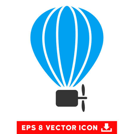 airship: Aerostat Balloon EPS vector icon. Illustration style is flat iconic bicolor blue and gray symbol on white background.