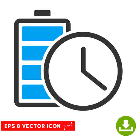 timed: Battery Time EPS vector pictogram. Illustration style is flat iconic bicolor blue and gray symbol on white background. Illustration