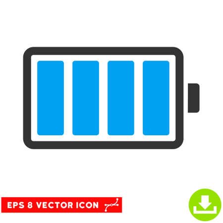 lithium: Battery EPS vector pictograph. Illustration style is flat iconic bicolor blue and gray symbol on white background.