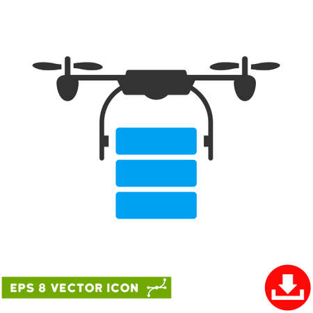 airflight: Cargo Drone EPS vector pictogram. Illustration style is flat iconic bicolor blue and gray symbol on white background.