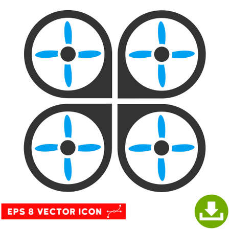airflight: Copter EPS vector pictograph. Illustration style is flat iconic bicolor blue and gray symbol on white background. Illustration