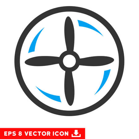 airscrew: Drone Screw Rotation EPS vector pictograph. Illustration style is flat iconic bicolor blue and gray symbol on white background.