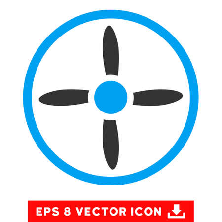 rotor: Drone Screw EPS vector pictograph. Illustration style is flat iconic bicolor blue and gray symbol on white background.