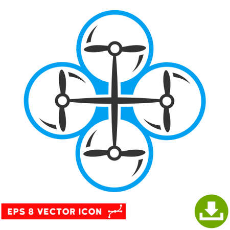 eps vector icon: Drone Screws EPS vector icon. Illustration style is flat iconic bicolor blue and gray symbol on white background.