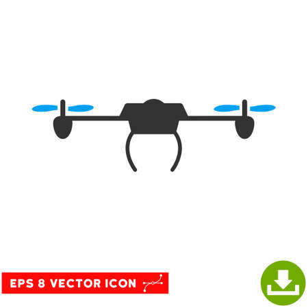 Drone EPS vector pictograph. Illustration style is flat iconic bicolor blue and gray symbol on white background.