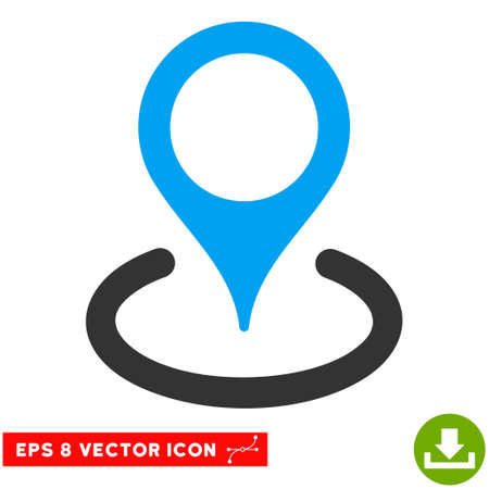 coordinates: Location EPS vector pictograph. Illustration style is flat iconic bicolor blue and gray symbol on white background.
