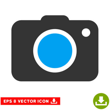 snapping: Photo Camera EPS vector pictogram. Illustration style is flat iconic bicolor blue and gray symbol on white background. Illustration