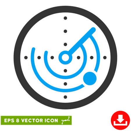 detection: Radar EPS vector pictograph. Illustration style is flat iconic bicolor blue and gray symbol on white background.